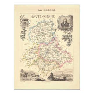 1858 Map of Haute Vienne Department, France 4.25x5.5 Paper Invitation Card