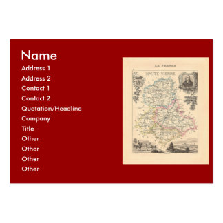 1858 Map of Haute Vienne Department France Business Card Template