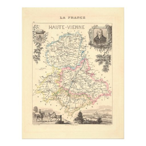 1858 Map of Haute Vienne Department, France Flyer