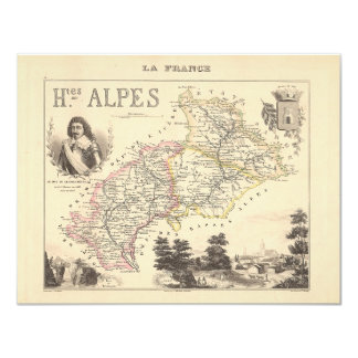 1858 Map of Hautes Alpes Department, France Card