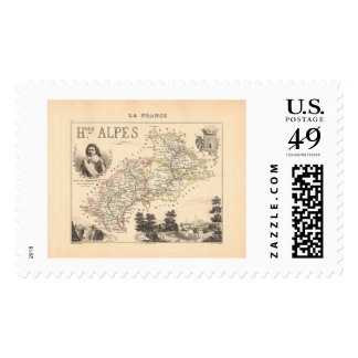 1858 Map of Hautes Alpes Department, France Postage Stamps