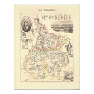 """1858 Map of Hautes Pyrenees Department, France 4.25"""" X 5.5"""" Invitation Card"""