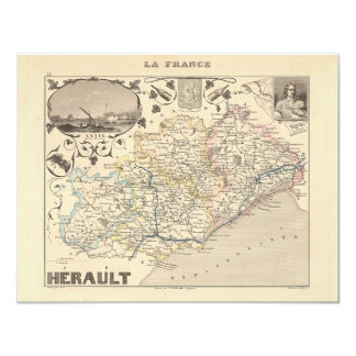 1858 Map of Herault Department, France 4.25x5.5 Paper Invitation Card
