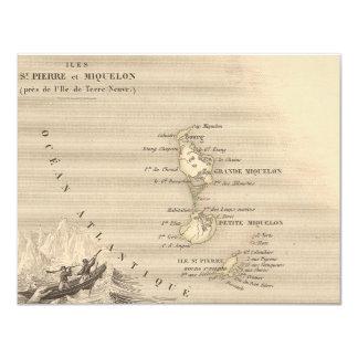 1858 Map of Iles St Pierre et Miquelon, France 4.25x5.5 Paper Invitation Card