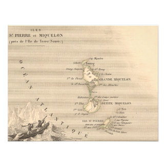 1858 Map of Iles St Pierre et Miquelon France Personalized Invites