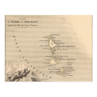 1858 Map of Iles St Pierre et Miquelon, France Post Card