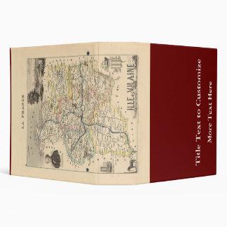 1858 Map of Ille et Vilaine Department, France 3 Ring Binder