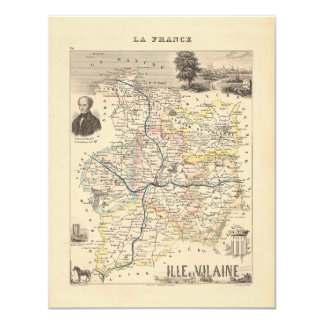 1858 Map of Ille et Vilaine Department, France Card