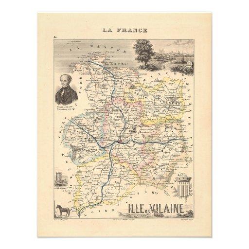 1858 Map of Ille et Vilaine Department, France Custom Announcements