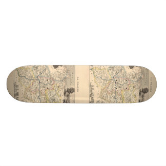 1858 Map of Ille et Vilaine Department, France Skateboard Deck