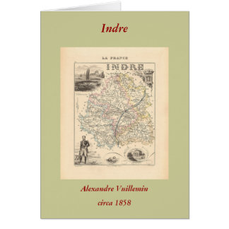 1858 Map of Indre Department, France Greeting Card