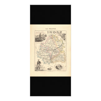 1858 Map of Indre Department, France Rack Card