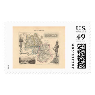1858 Map of Isere Department, France Postage