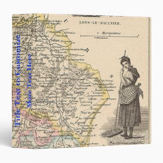 1858 Map of Jura Department, France 3 Ring Binder
