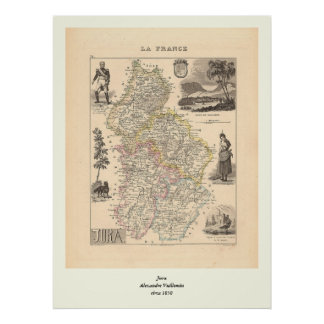 1858 Map of Jura Department, France Poster