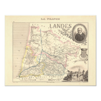 1858 Map of Landes Department, France 4.25x5.5 Paper Invitation Card