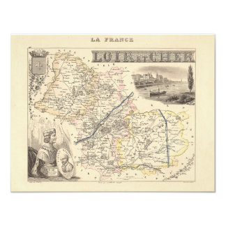 1858 Map of Loir et Cher Department, France 4.25x5.5 Paper Invitation Card