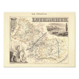 "1858 Map of Loir et Cher Department, France 4.25"" X 5.5"" Invitation Card"