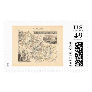 1858 Map of Loir et Cher Department, France Postage