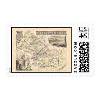 1858 Map of Loir et Cher Department France Postage Stamps