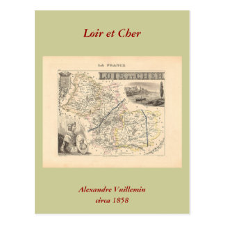 1858 Map of Loir et Cher Department, France Postcard