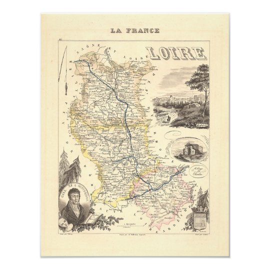 1858 Map of Loire Department, France Card
