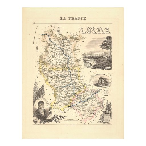 1858 Map of Loire Department, France Full Color Flyer