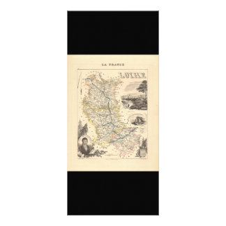 1858 Map of Loire Department, France Full Color Rack Card