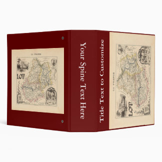 1858 Map of Lot Department, France 3 Ring Binder