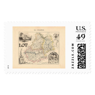 1858 Map of Lot Department, France Postage