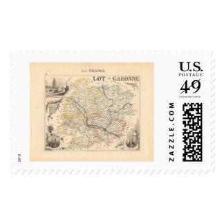1858 Map of Lot et Garonne Department, France Postage