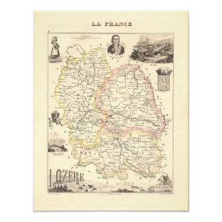 1858 Map of Lozere Department, France 4.25x5.5 Paper Invitation Card