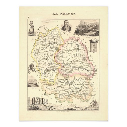1858 Map of Lozere Department, France Card