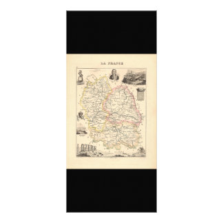 1858 Map of Lozere Department, France Rack Card Design