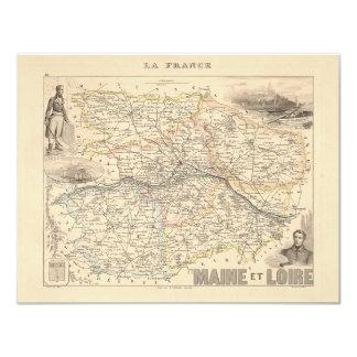 1858 Map of Maine et Loire Department, France Card