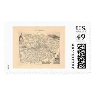 1858 Map of Maine et Loire Department, France Postage