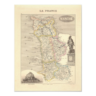 1858 Map of Manche Department, France 4.25x5.5 Paper Invitation Card