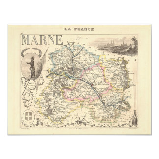 1858 Map of Marne Department, France Card