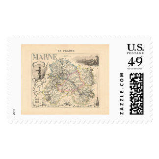 1858 Map of Marne Department, France Postage