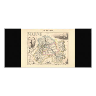 1858 Map of Marne Department, France Full Color Rack Card
