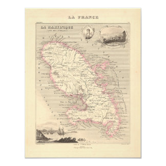 1858 Map of Martinique Department, France 4.25x5.5 Paper Invitation Card