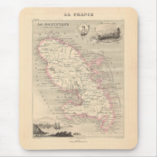1858 Map of Martinique Department, France Mouse Pad