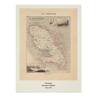 1858 Map of Martinique Department, France Poster