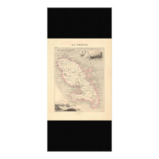 1858 Map of Martinique Department, France Rack Card