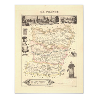 1858 Map of Mayenne Department, France 4.25x5.5 Paper Invitation Card
