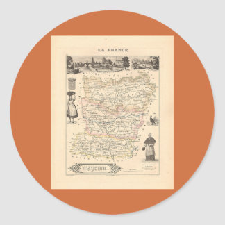 1858 Map of Mayenne Department, France Classic Round Sticker