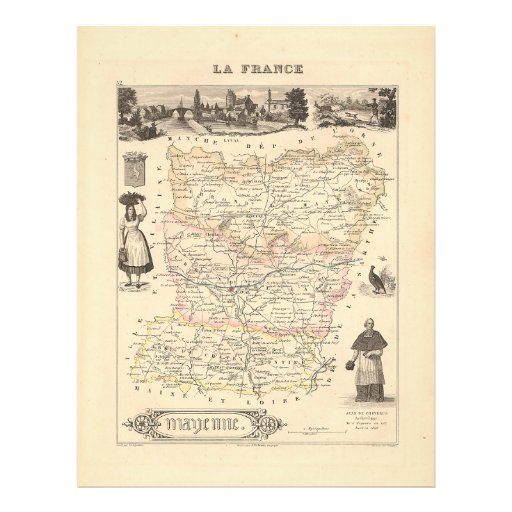 1858 Map of Mayenne Department, France Custom Flyer