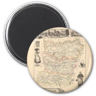 1858 Map of Mayenne Department, France Refrigerator Magnet