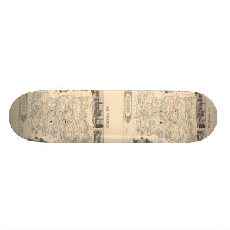 1858 Map of Mayenne Department, France Skateboard Deck