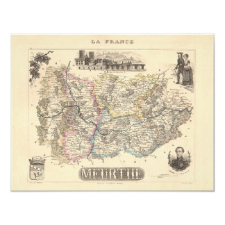 """1858 Map of Meurthe Department, France 4.25"""" X 5.5"""" Invitation Card"""